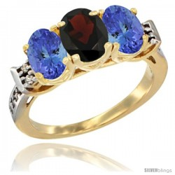 10K Yellow Gold Natural Garnet & Tanzanite Sides Ring 3-Stone Oval 7x5 mm Diamond Accent