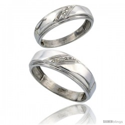 Sterling Silver Diamond 2 Piece Wedding Ring Set His 7mm & Hers 5.5mm Rhodium finish