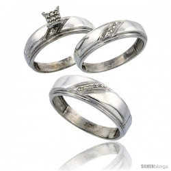 Sterling Silver Diamond Trio Wedding Ring Set His 7mm & Hers 5.5mm Rhodium finish
