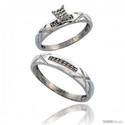 Sterling Silver 2-Piece Diamond wedding Engagement Ring Set for Him & Her Rhodium finish, 3.5mm & 4mm wide