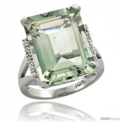 10k White Gold Diamond Green-Amethyst Ring 12 ct Emerald Cut 16x12 stone 3/4 in wide
