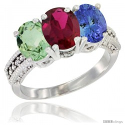 10K White Gold Natural Green Amethyst, Ruby & Tanzanite Ring 3-Stone Oval 7x5 mm Diamond Accent