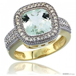 10K Yellow Gold Natural Green-Amethyst Ring Cushion-cut 9x9 Stone Diamond Accent
