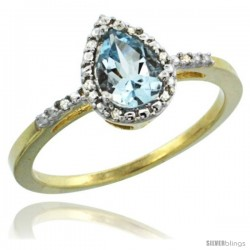 14k Yellow Gold Diamond Aquamarine Ring 0.59 ct Tear Drop 7x5 Stone 3/8 in wide