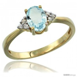 14k Yellow Gold Ladies Natural Aquamarine Ring oval 7x5 Stone Diamond Accent