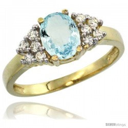 14k Yellow Gold Ladies Natural Aquamarine Ring oval 8x6 Stone Diamond Accent