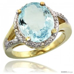14k Yellow Gold Ladies Natural Aquamarine Ring oval 12x10 Stone Diamond Accent