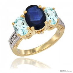 14K Yellow Gold Ladies 3-Stone Oval Natural Blue Sapphire Ring with Aquamarine Sides Diamond Accent
