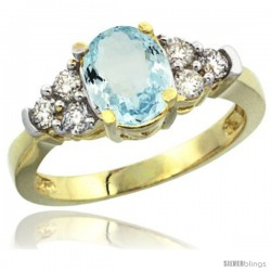 14k Yellow Gold Ladies Natural Aquamarine Ring oval 9x7 Stone Diamond Accent