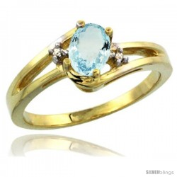 14k Yellow Gold Ladies Natural Aquamarine Ring oval 6x4 Stone Diamond Accent
