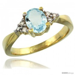 14k Yellow Gold Ladies Natural Aquamarine Ring oval 7x5 Stone Diamond Accent -Style Cy412168