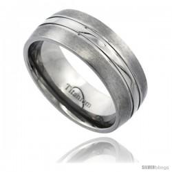 Titanium 8mm Domed Wedding Band Ring Polished Stripe Center Matte Edges Comfort-fit