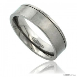 Titanium 6mm Flat Wedding Band Ring Matte Finish one Polished Grooved Edge Comfort-fit