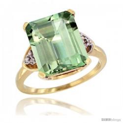 10k Yellow Gold Ladies Natural Green Amethyst Ring Emerald-shape 12x10 Stone