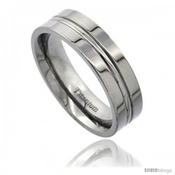 Titanium 6mm Flat Wedding Band Ring Convexed Groove Center Polished Finish Comfort-fit