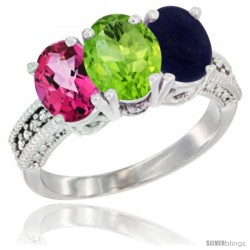 14K White Gold Natural Pink Topaz, Peridot & Lapis Ring 3-Stone 7x5 mm Oval Diamond Accent