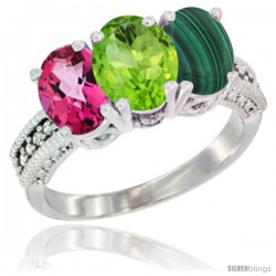 14K White Gold Natural Pink Topaz, Peridot & Malachite Ring 3-Stone 7x5 mm Oval Diamond Accent