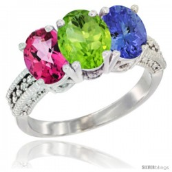 14K White Gold Natural Pink Topaz, Peridot & Tanzanite Ring 3-Stone 7x5 mm Oval Diamond Accent