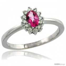 14k White Gold Diamond Halo Pink Topaz Ring 0.25 ct Oval Stone 5x3 mm, 5/16 in wide