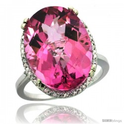 14k White Gold Diamond Halo Large Pink Topaz Ring 10.3 ct Oval Stone 18x13 mm, 3/4 in wide