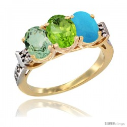 10K Yellow Gold Natural Green Amethyst, Peridot & Turquoise Ring 3-Stone Oval 7x5 mm Diamond Accent
