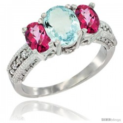 14k White Gold Ladies Oval Natural Aquamarine 3-Stone Ring with Pink Topaz Sides Diamond Accent