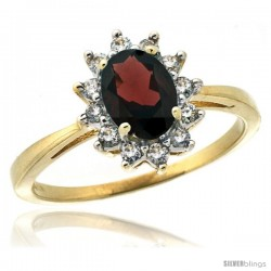 10k Yellow Gold Diamond Halo Garnet Ring 0.85 ct Oval Stone 7x5 mm, 1/2 in wide