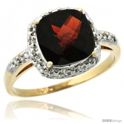 10k Yellow Gold Diamond Garnet Ring 2.08 ct Cushion cut 8 mm Stone 1/2 in wide