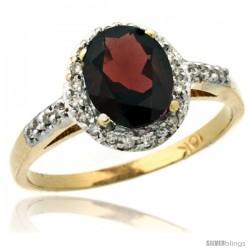 10k Yellow Gold Diamond Garnet Ring Oval Stone 8x6 mm 1.17 ct 3/8 in wide