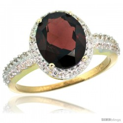 10k Yellow Gold Diamond Garnet Ring Oval Stone 10x8 mm 2.4 ct 1/2 in wide