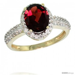 10k Yellow Gold Diamond Garnet Ring Oval Stone 9x7 mm 1.76 ct 1/2 in wide