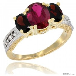 10K Yellow Gold Ladies Oval Natural Ruby 3-Stone Ring with Garnet Sides Diamond Accent