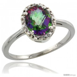 10k White Gold Diamond Halo Mystic Topaz Ring 1.2 ct Oval Stone 8x6 mm, 1/2 in wide