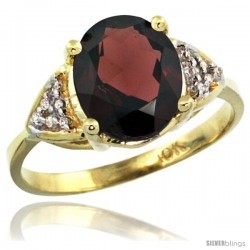 10k Yellow Gold Diamond Garnet Ring 2.40 ct Oval 10x8 Stone 3/8 in wide