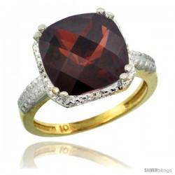 10k Yellow Gold Diamond Garnet Ring 5.94 ct Checkerboard Cushion 11 mm Stone 1/2 in wide
