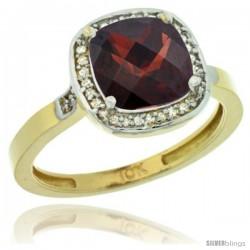 10k Yellow Gold Diamond Garnet Ring 2.08 ct Checkerboard Cushion 8mm Stone 1/2.08 in wide