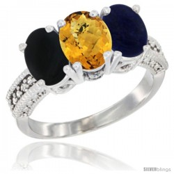 14K White Gold Natural Black Onyx, Whisky Quartz & Lapis Ring 3-Stone 7x5 mm Oval Diamond Accent
