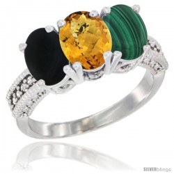 14K White Gold Natural Black Onyx, Whisky Quartz & Malachite Ring 3-Stone 7x5 mm Oval Diamond Accent