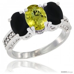 14K White Gold Natural Lemon Quartz & Black Onyx Sides Ring 3-Stone 7x5 mm Oval Diamond Accent