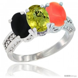14K White Gold Natural Black Onyx, Lemon Quartz & Coral Ring 3-Stone 7x5 mm Oval Diamond Accent