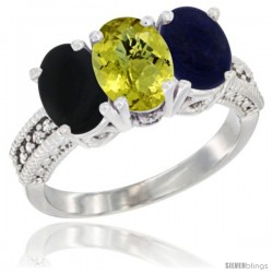 14K White Gold Natural Black Onyx, Lemon Quartz & Lapis Ring 3-Stone 7x5 mm Oval Diamond Accent