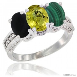 14K White Gold Natural Black Onyx, Lemon Quartz & Malachite Ring 3-Stone 7x5 mm Oval Diamond Accent