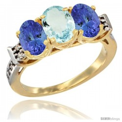 10K Yellow Gold Natural Aquamarine & Tanzanite Sides Ring 3-Stone Oval 7x5 mm Diamond Accent