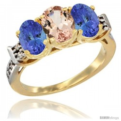 10K Yellow Gold Natural Morganite & Tanzanite Sides Ring 3-Stone Oval 7x5 mm Diamond Accent