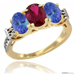 10K Yellow Gold Natural Ruby & Tanzanite Sides Ring 3-Stone Oval 7x5 mm Diamond Accent