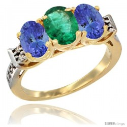 10K Yellow Gold Natural Emerald & Tanzanite Sides Ring 3-Stone Oval 7x5 mm Diamond Accent