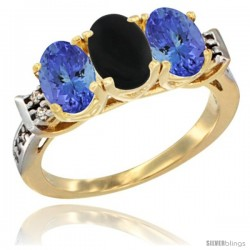 10K Yellow Gold Natural Black Onyx & Tanzanite Sides Ring 3-Stone Oval 7x5 mm Diamond Accent