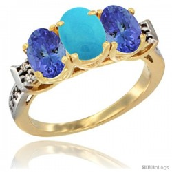 10K Yellow Gold Natural Turquoise & Tanzanite Sides Ring 3-Stone Oval 7x5 mm Diamond Accent