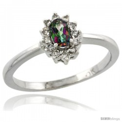 10k White Gold Diamond Halo Mystic Topaz Ring 0.25 ct Oval Stone 5x3 mm, 5/16 in wide
