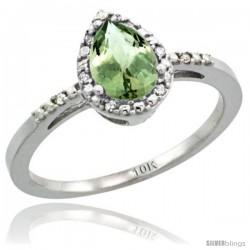 10k White Gold Diamond Green-Amethyst Ring 0.59 ct Tear Drop 7x5 Stone 3/8 in wide